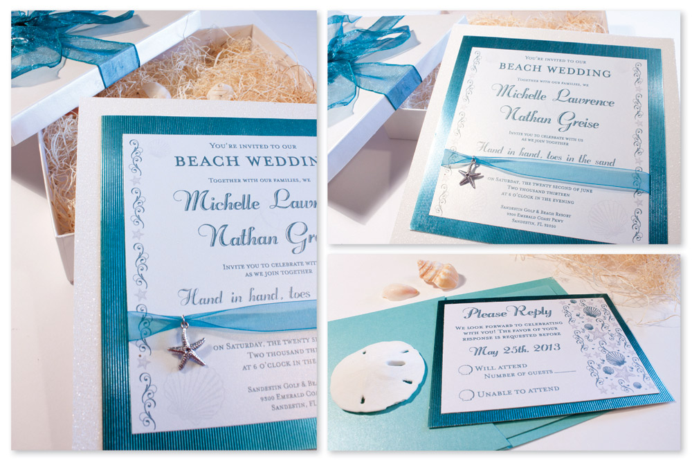 Blue Beach Wedding Invitation