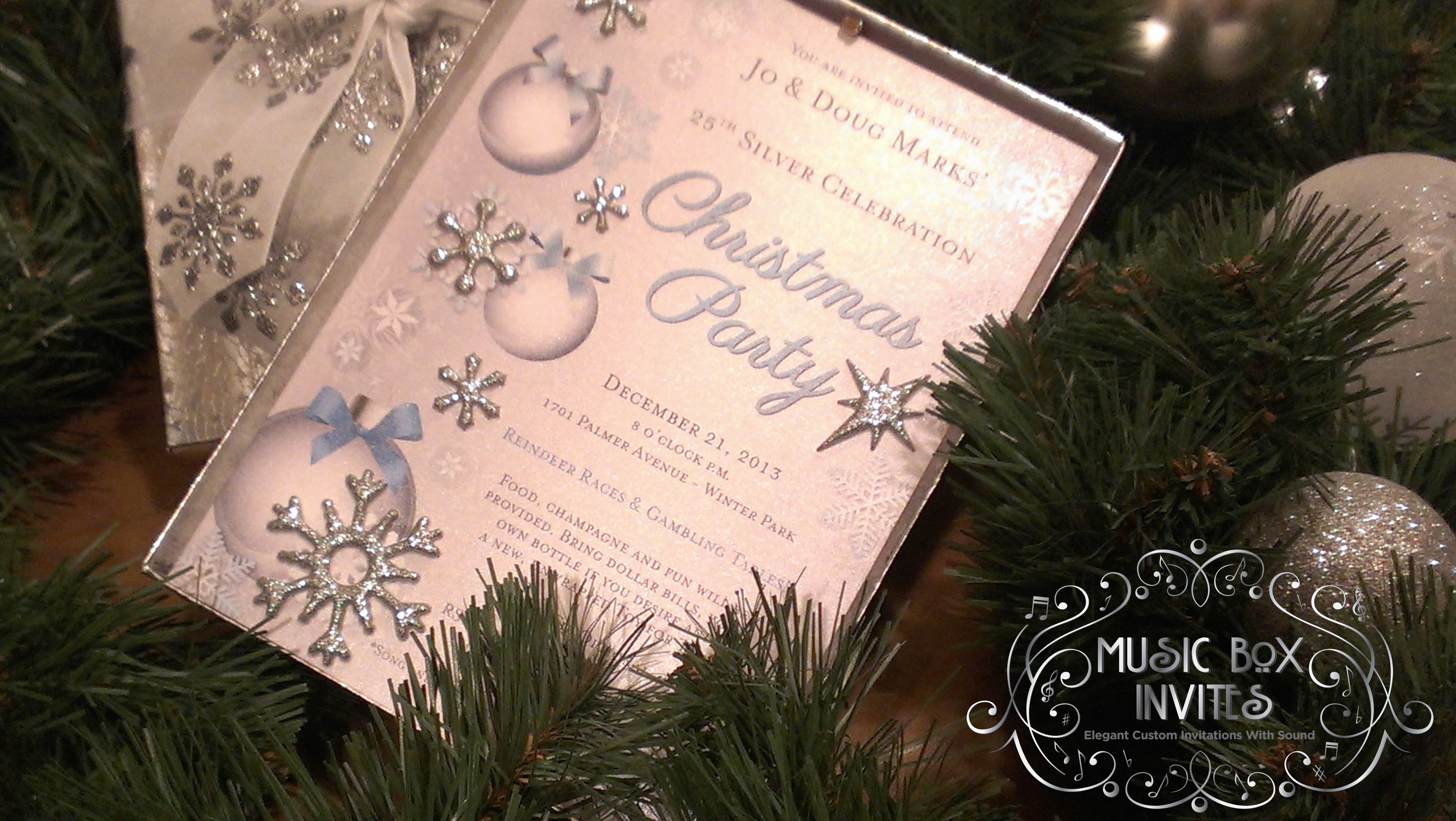 Musical Christmas Party Invitation and RSVP Card in Snowy White and ...