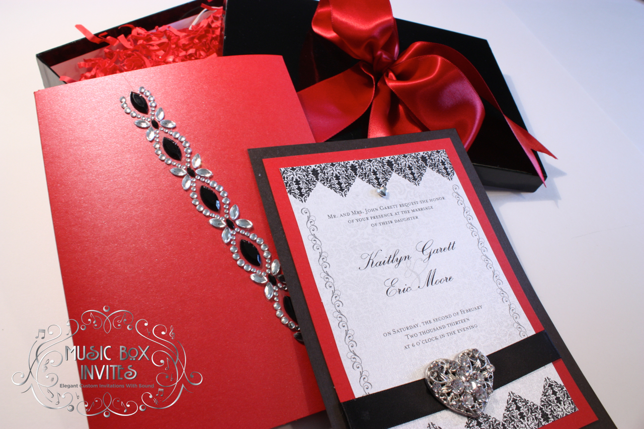 Red White and Black Brocade Romance Musical Wedding Invitation and ...