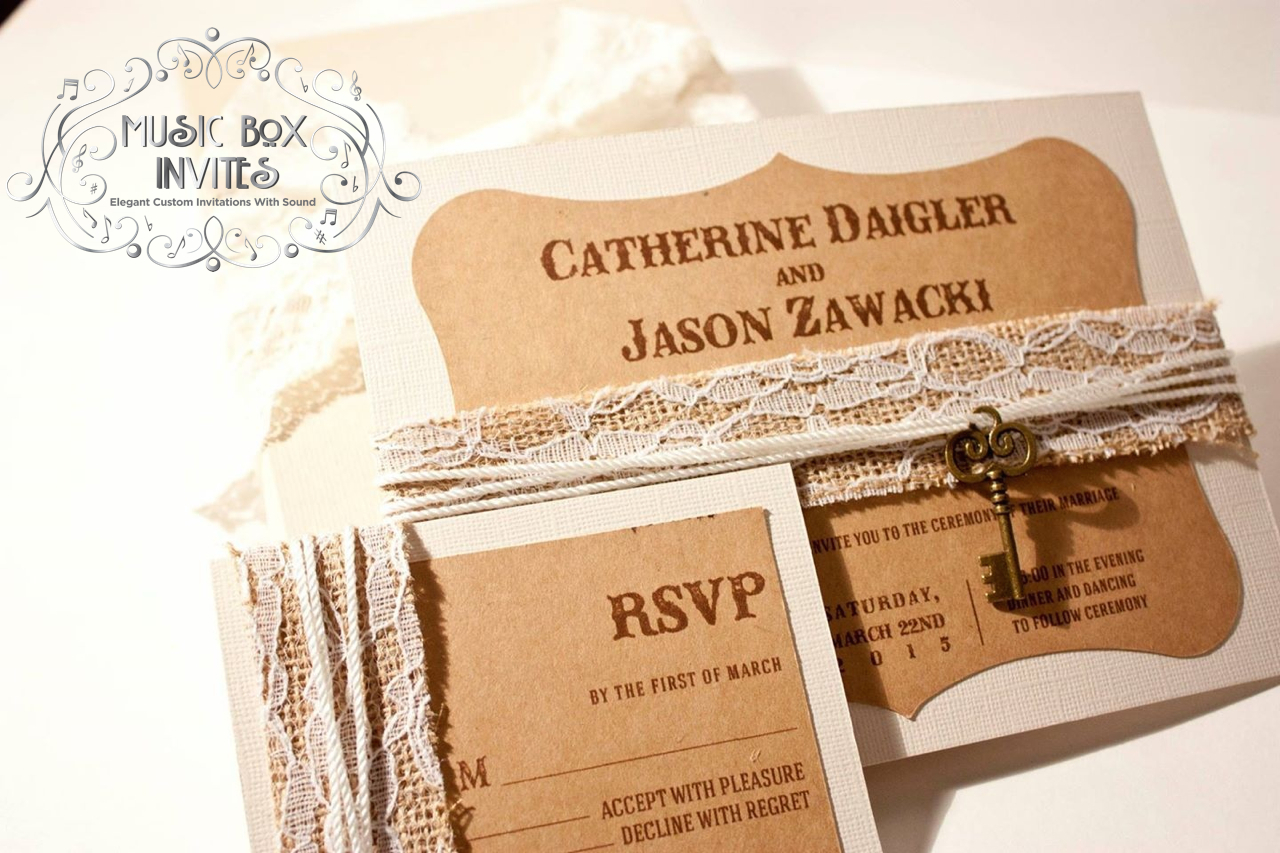 Crafts Lace Rustic Musical Wedding Invitation And RSVP Card Comes