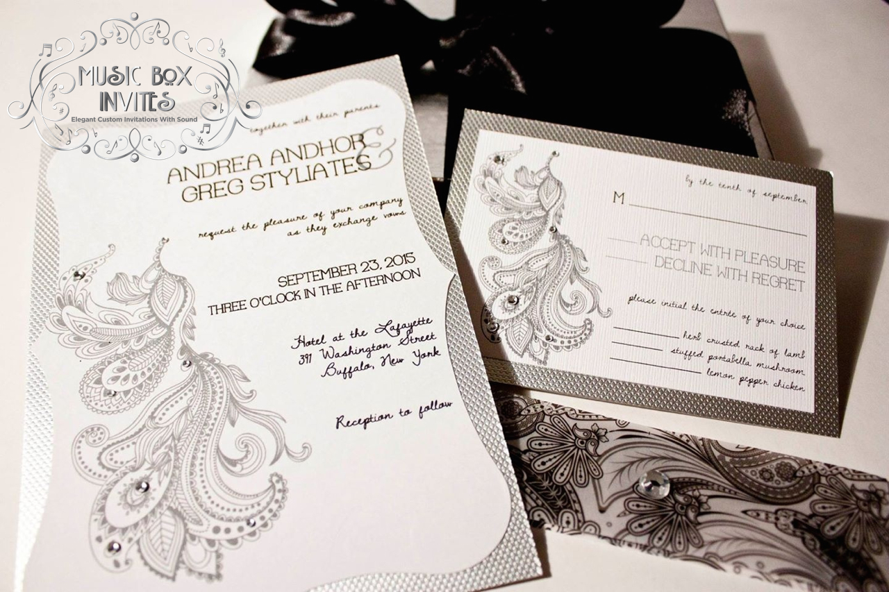 Musical Wedding Invitation. Box Plays Music. Silver Paisley and ...