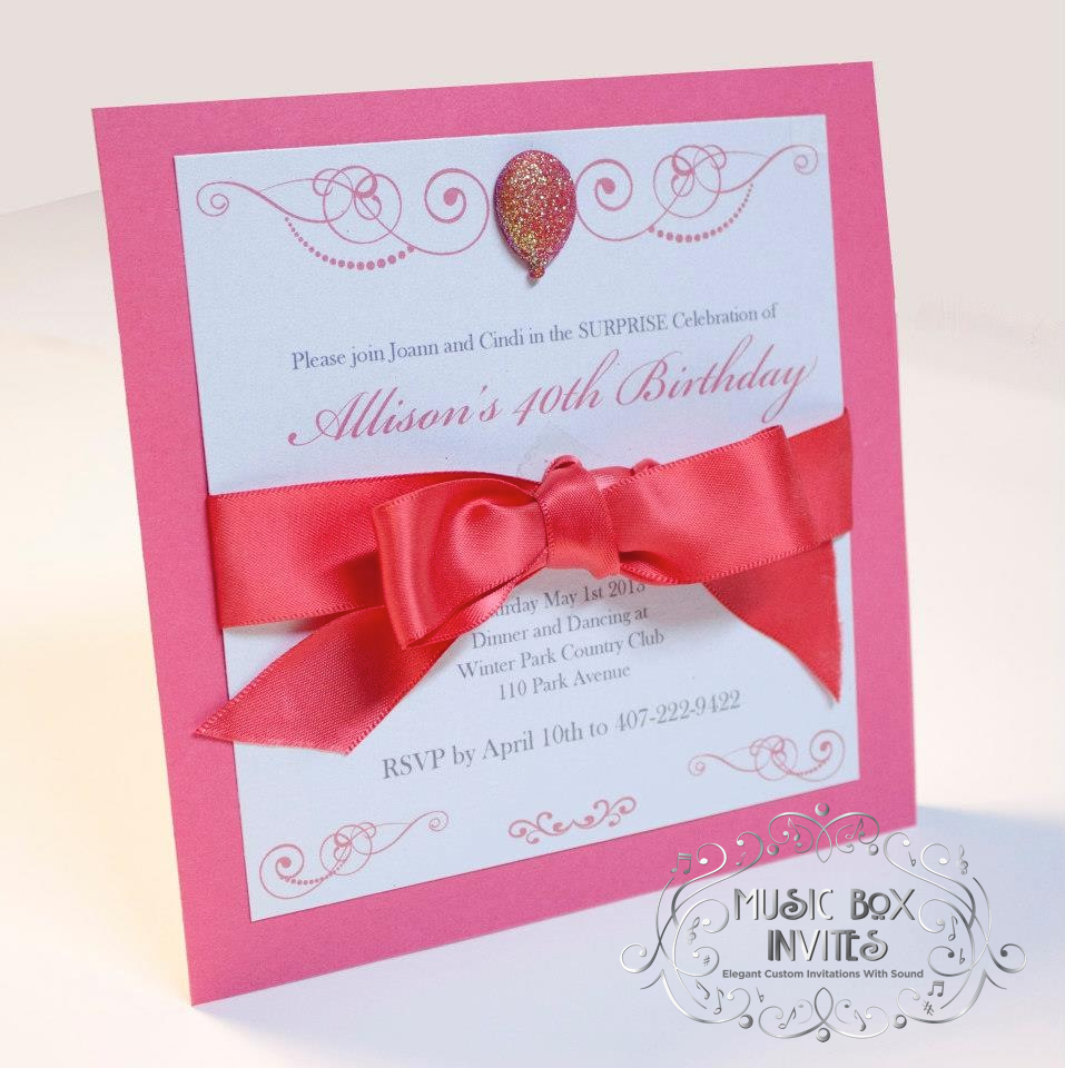 Musical Wedding or Party Invitation and RSVP Card with Balloon White ...
