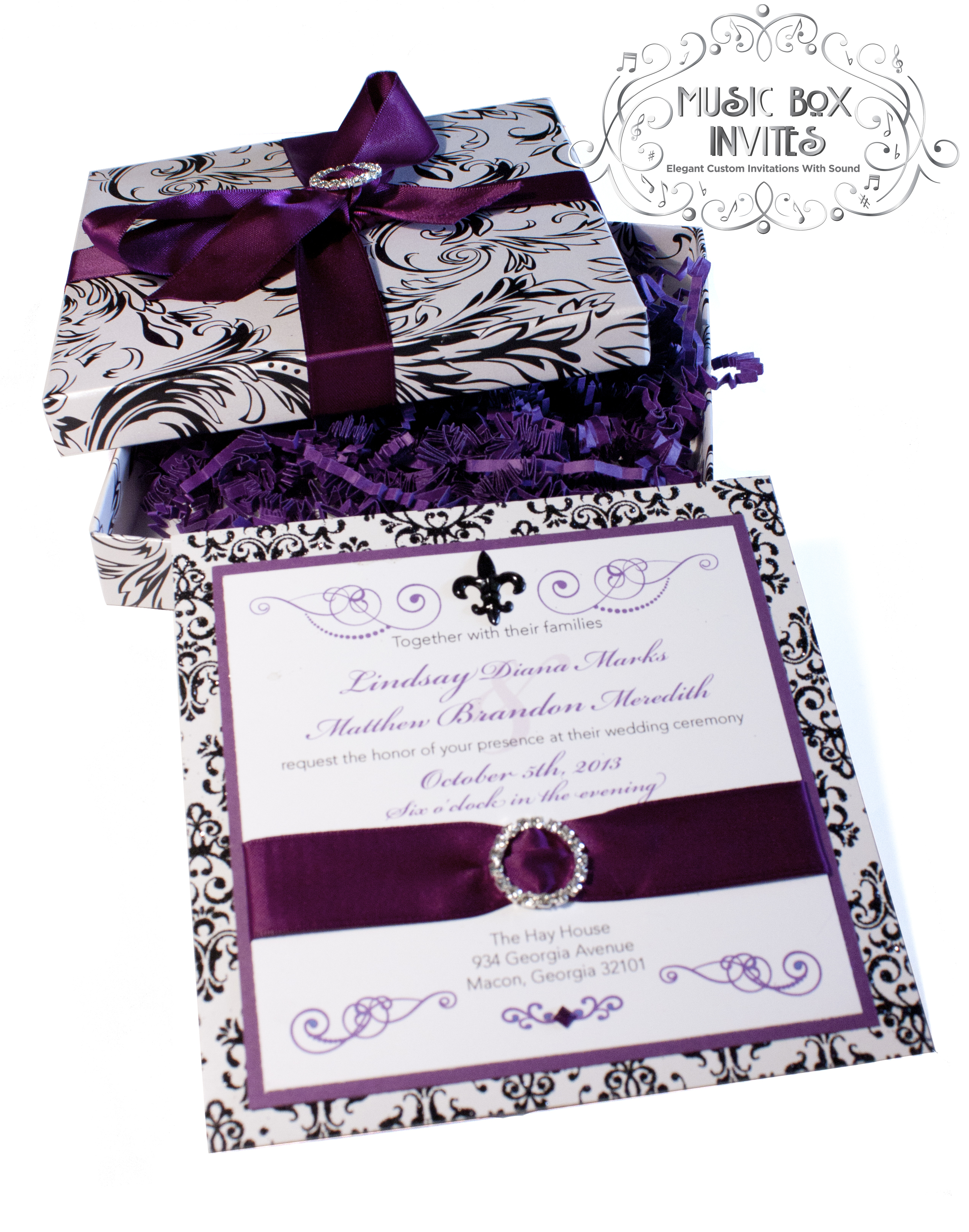 Musical Wedding or Party Invitation and RSVP Card in Damask Brocade ...