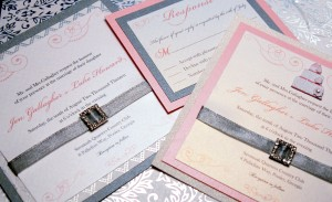 Cake Musical Invitation in Silver and Pastels