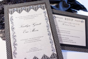 Black and Silver Brocade Musical Invitation