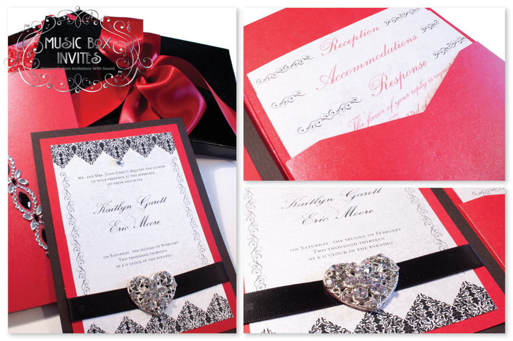 Red White and Black Brocade Romance Musical Wedding Invitation and – Black Red White Wedding Invitations